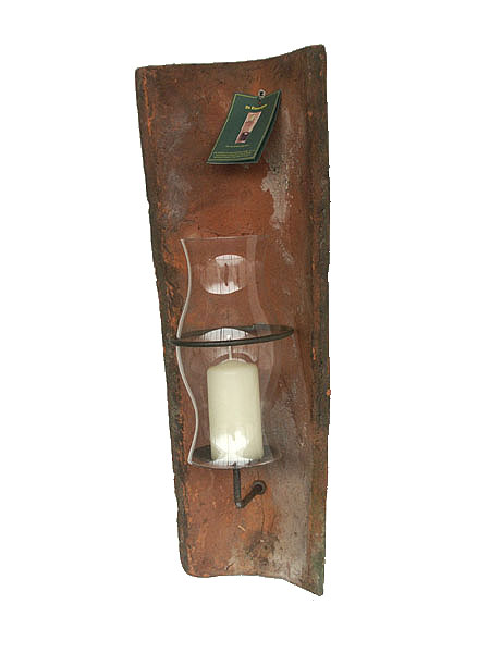 echt antiker dachziegel wandkerzenhalter mit windlicht ebay. Black Bedroom Furniture Sets. Home Design Ideas