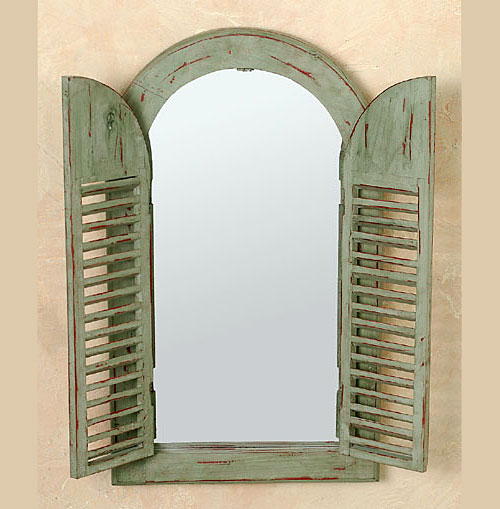 Rustikaler spiegel holz fensterladen oliv landhausstil ebay - Rustikaler spiegel ...