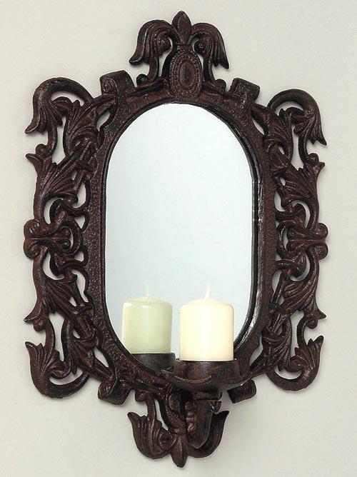 nostalgie wandkerzenhalter spiegel eisen kolonialstil of 1617. Black Bedroom Furniture Sets. Home Design Ideas
