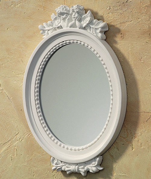 wunderschner spiegel oval engel holz weiss of. Black Bedroom Furniture Sets. Home Design Ideas
