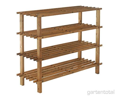 schuhregal regal 4 bden dunkles naturholz of gartentotal. Black Bedroom Furniture Sets. Home Design Ideas