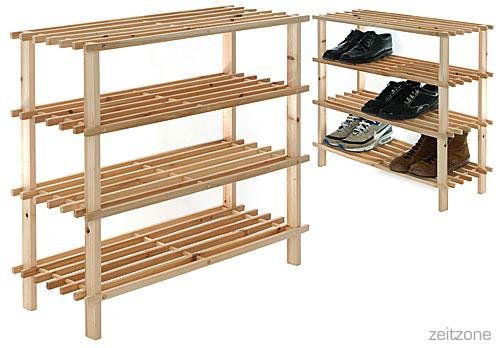 schuhregal regal 4 b den holz natur ebay. Black Bedroom Furniture Sets. Home Design Ideas