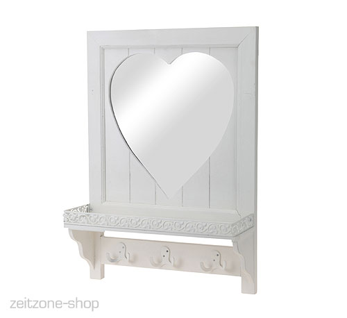 wandgarderobe mit spiegel herz rustikal holz weiss ebay. Black Bedroom Furniture Sets. Home Design Ideas
